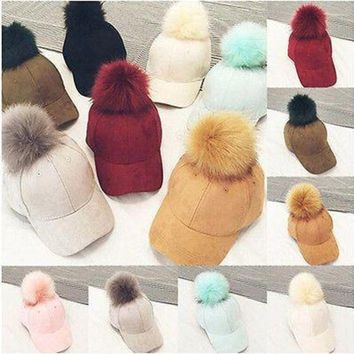 Fashion New Women Faux Fox Fur Pompom Ball Hats Suede Adjustable Baseball Cap Hip Hop Hat
