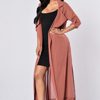 Keep Watching Duster Coat - Mauve