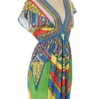 G2 Chic Women's Ethnic Print Kimono Knit Dress