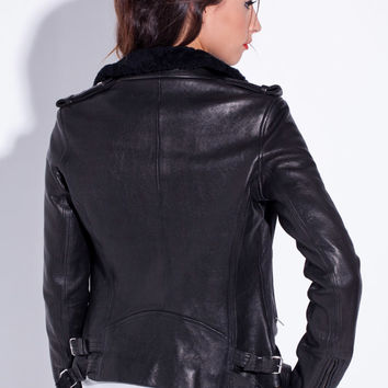 IRO Laya Leather Jacket in Noir
