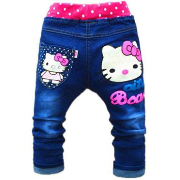 DCCKL3Z 2-5years Cute Cartoon Pattern Kids Jeans Autumn Lovely Cat High Quality Children Pants Casual trouses hello kitty girls jeans