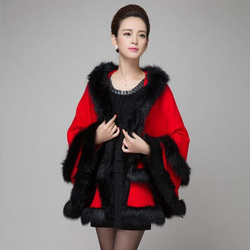 2015 autumn winter new elegant double-deck hooded fox fur coat ladies faux fur knitted capes shawl long Luxurious wrap,5 coulor