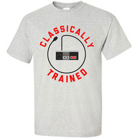 Funny Video Game T-shirt Tshirt Tee Shirt Classically Trained Gamer Controller Retro Christmas Gift for Boyfriend NES Nerd Geek Old School