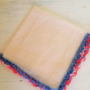 Vintage Handkerchief / Vintage Linen Cotton Hanky / Crocheted Edge Hankerchief / Blush Hanky / Blue and Pink Trim