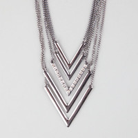 Full Tilt 5 Piece Chevron Necklace Hematite One Size For Women 25144618901