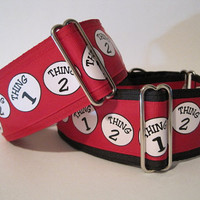 2 inch Thing 1 Thing 2 Martingale Collar, Red, Black, Dog Collar, Wide Dog Collar