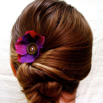 "Purple Hair Flower, Upcycled Vintage Button Hair Clip, Anemone Fascinator, Beach Wedding Hair Accessory - ""Picked Me a Plum"""