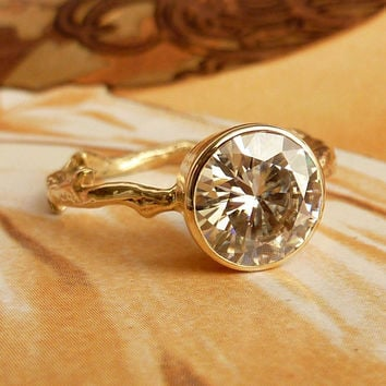 Moissanite Solitaire Engagement Ring by kateszabone on Etsy