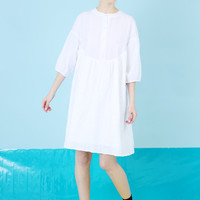 Textured Round Collar Smock Dress White