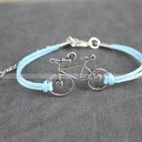 Silver karma bracelet: blue rope silver bracelet bicycle, hand catenary of men and women