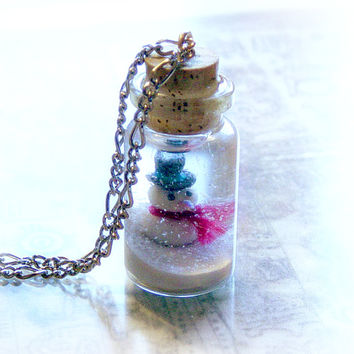 Snowman in a winter wonderland bottle necklace, Christmas snow globe pendant, winter jewelry, personalized gift