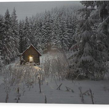 Cabin In Winter - Wood Print