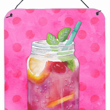 Mason Jar Cocktail Pink Polkadot Wall or Door Hanging Prints BB8254DS1216