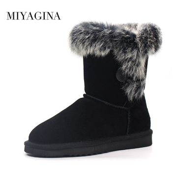MIYAGINA Fashion Women 100% Genuine Cowhide Leather Snow Boots Natural Rabbit Fur Winter Boots Warm Women Boots Free Shipping