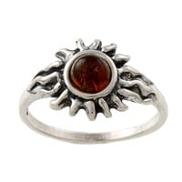 Silvermoon Sterling Silver Amber Sun Ring