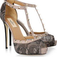 Valentino|Studded leather and lace T-bar pumps|NET-A-PORTER.COM