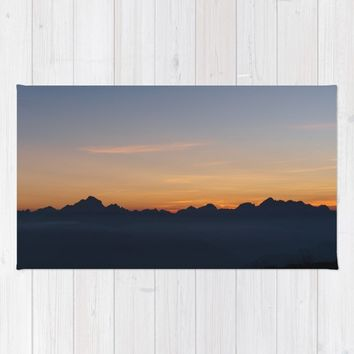 Mountain Range Silhouette Rug by Mixed Imagery