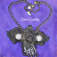 """Statement Necklace, Lion Escutcheon, Large Rhinestone Lavaliers, Choker Adjustable to 19"""". By Alchemy Divine Couture"""