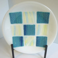 Fused Glass Round Plate in White with Shades of Blue and Yellow by BPRDesigns