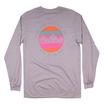 Mountain High Long Sleeve Tee in Hurricane Grey by Southern Outdoor Co.