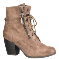 hayden lace-up bootie in taupe