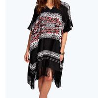 Black Geometric Print Dress with Fringe