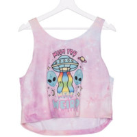 Wish You Were Weird Psychedelic Alien Graphic Tee Crop Tops