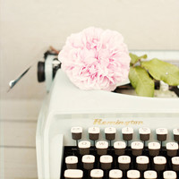 Remington and rose - fine art photography print - vintage light blue typewriter with pink rose dreamy whimsical spring photograph