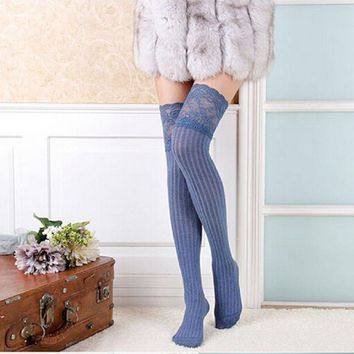 New Arrival Hot Fashion Women Lace Knitting High Socks Over Knee Thigh Pantyhose Warm