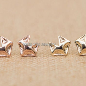 Cute Fox Earrings - Gold and Rose Gold; cute and simple fox stud earrings; minimalist animal studs;