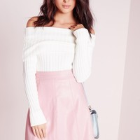 Missguided - Petite Faux Leather A Line Mini Skirt Dusky Pink