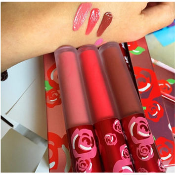 3PCS/ Set Sant Cupid True Love Lasting Matte Lipstick nonstick cup Matte Lip Gloss Makeup Tools
