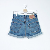 SUMMER SALE 50% OFF - 90s Levi's 582 Cutoffs Cuffed Shorts. Blue Distressed Denim. High Waisted. Button Fly. W30