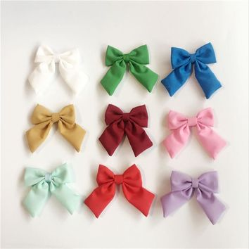 5pcs/lot New Fashion Fabric Floral Bow Hair Clip  For  Cute Hairgrips Hair Accessories With Clip