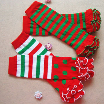 Baby Kids Boy Girl Winter Charismas Leg Warmer Cotton Cute Rainbow Stripes Socks Leg Warmers