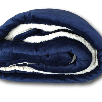 Tache Dark Navy Blue Sherpa Winter Night Micro Fleece Throw Blanket