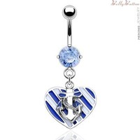 Belly button ring with dangling sailor love heart