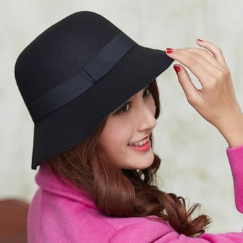 Women Wool Felt Fedora Hats Fashion Ladies Girls Stingy Brim Bucket Hats Autumn Winter Female Dome Cap Sweet Style GH-211