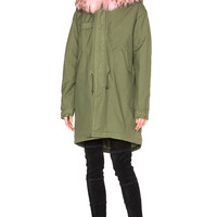 Mr & Mrs Italy Army Canvas Parka with Raccoon Fur in Panter Pink | FWRD