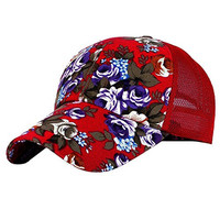 Eforstore Snapback Baseball Cap Floral Perforated Ball Caps Golf Hats Summer Mesh Hat for Women Teens Girls Red