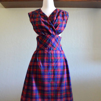 Vintage Wool Pinafore Dress, Red and Blue Plaid, Tween Fare, 1960s