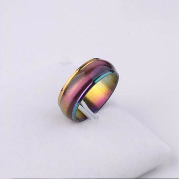 DCCKFV3 Fashion Men Women Rainbow Colorful Ring Titanium Steel Wedding Band Ring Width 4mm Size 5-13 Gift Free shopping