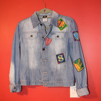 90's Versace Jeans Couture Jean Jacket W/ Patches Xs