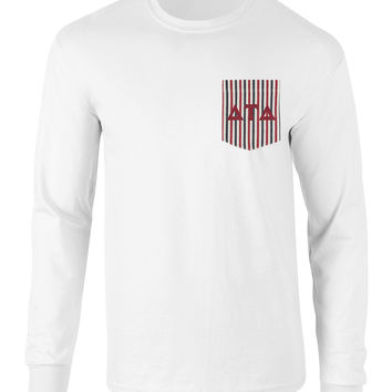 Delta Tau Delta American Flag Theme Long Sleeve Pocket Tee
