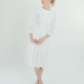 White Lace Cotton Dress / Little White Dress / White Fit and Flare Dress/Long Sleeve Lace Dress/ 3/4 sleeve/prom dress