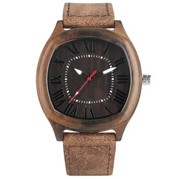 Vintage Men Women Wooden Watch Elegant Square Wood Grain Case Roman Number Dial Business Male Female Dress Wristwatch Gift Clock