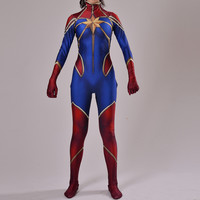 Captain Marvel Costume Female Ms Marvel Superhero Costume Cosplay Comic Halloween Costume Print style   Made Available
