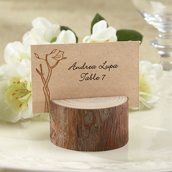Rustic Wood Place Card Holder