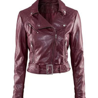 Faux Leather Belted Side Zipper Collar Jacket