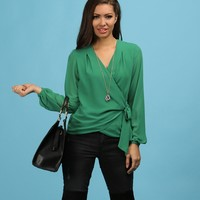 Promo-green Wrap Front Tie Waist Top
